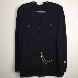 St.John Cardigan Sweater Gold Chain Pocket 14